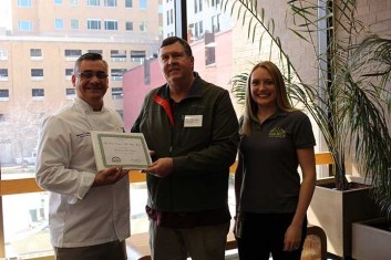 Chris Carton, Food and Beverage Director and Executive Chef; Pete Vogel, Food Rescue Partnership; and Christina McDonough, Food Rescue Partnership